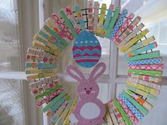 Clothespin Easter Wreath