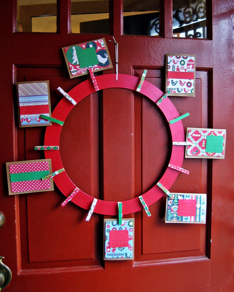 Clothespin Wreath Christmas Card Holder