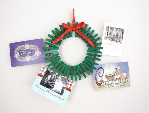 Clothespin Wreath Christmas Cards