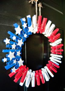 Clothespin Wreath Red White and Blue