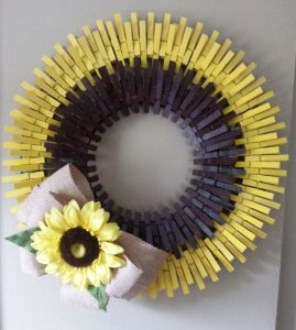 Clothespin Wreath Sunflower
