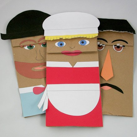 paper sack puppets Sack puppets can be made and enjoyed by folks, kindergarten through adult   the puppets with construction paper folded to conform to the folds of the sack.