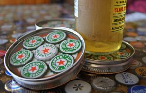 Bottle Cap Coasters Mason Jar