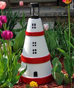 Clay Pot Lighthouse Bird Feeder