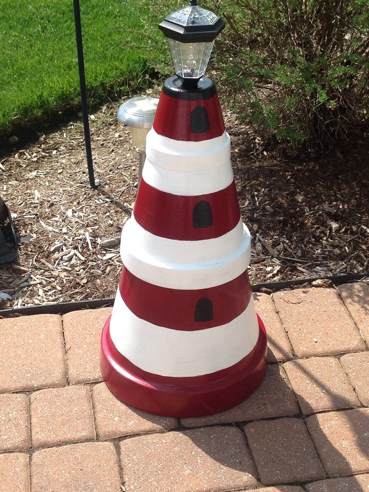 8 Simple Clay Pot Lighthouse Projects for Your Garden ... on lighthouse statues, lighthouse art, lighthouse pots, lighthouse garden, lighthouse gifts, lighthouse sheds, lighthouse home, lighthouse sculptures, lighthouse pottery, lighthouse urns, lighthouse craft projects, lighthouse jewelry, lighthouse lighting, lighthouse flags, lighthouse books, lighthouse fountains, lighthouse plates, lighthouse candles, lighthouse furniture, lighthouse birdhouses,