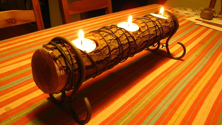 11 Homemade Log Candle Holders