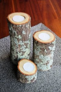 Log Pillar Candle Holders