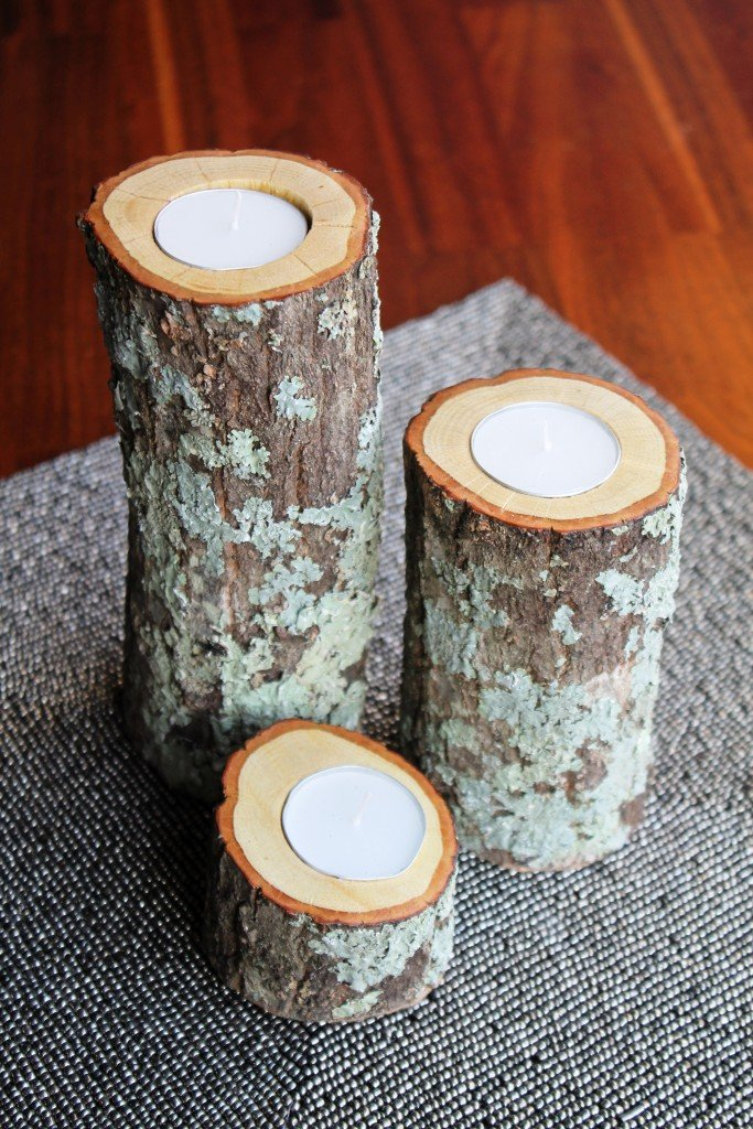 11 homemade log candle holders guide patterns for Diy wooden pillar candle holders