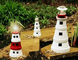 Painted Clay Pot Lighthouses