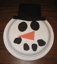 Paper Plate Snowman Mask