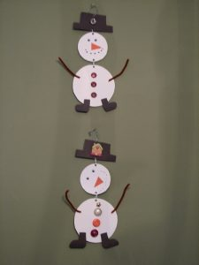 Paper Plate Snowman Mobile