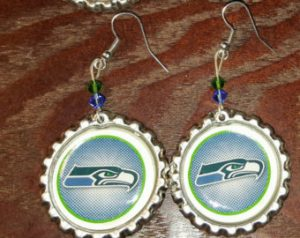 Seahawks Bottle Cap Earrings