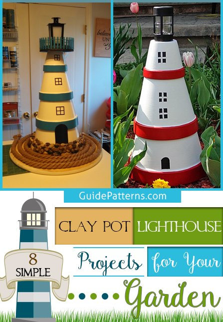 8 Simple Clay Pot Lighthouse Projects for Your Garden ... on antique planters, porcelain planters, stacked planters, crochet planters, vintage mccoy planters, pewter planters, furniture planters,