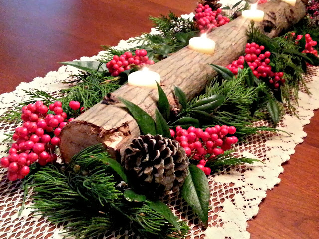 yule log candle holder
