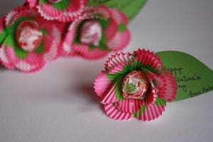 Cupcake Liner Flowers with Lollipops