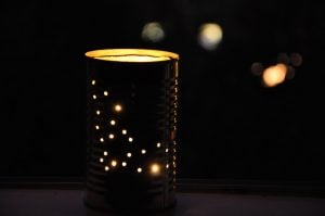 Tin Can Lantern in Halloween Pattern