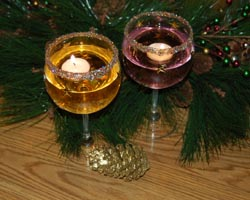 Glitter Wine Glass Candle Holders