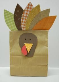 Paper Bag Turkey Craft with Rice
