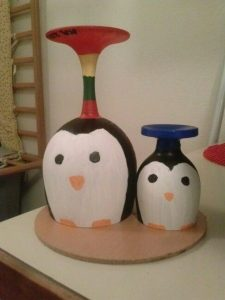 Penguin Wine Glass Candle Holders