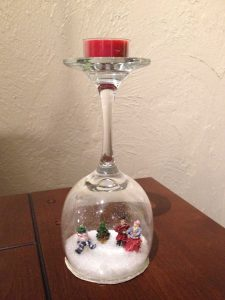 Wine Glass Snow Globe Candle Holder