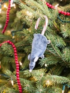 Christmas Mouse Candy Cane Tree Decoration