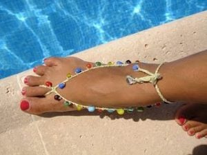 Crochet Barefoot Sandals Pattern with Beads