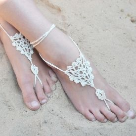 Crochet Wedding Barefoot Sandals Free Pattern