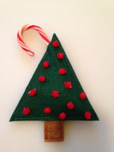Felt Christmas Tree Candy Cane Holder
