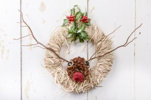 Pinecone Reindeer Wreath