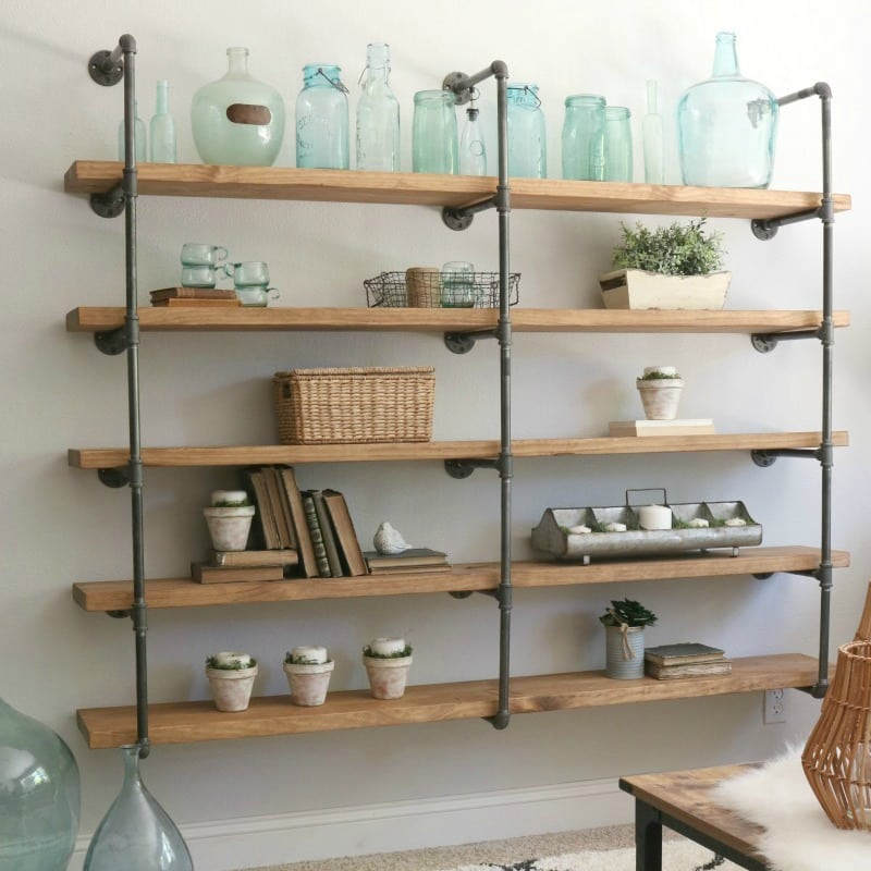 23 diy plans to build a pipe bookshelf guide patterns. Black Bedroom Furniture Sets. Home Design Ideas