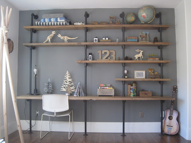 Wooden Shelves With Pipes