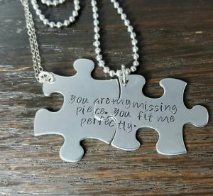 Puzzle Piece Necklace with Engraving
