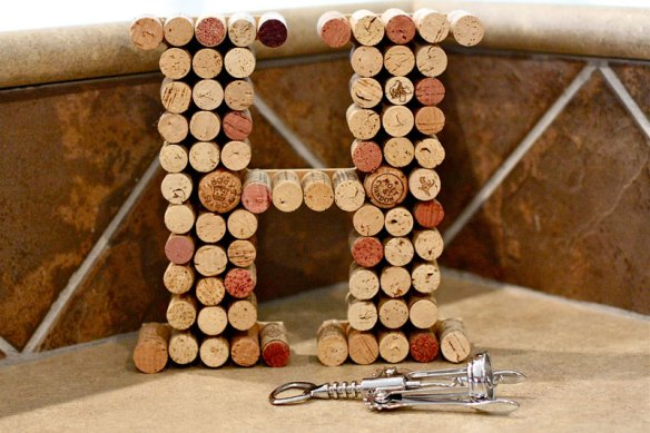 large wine cork letter