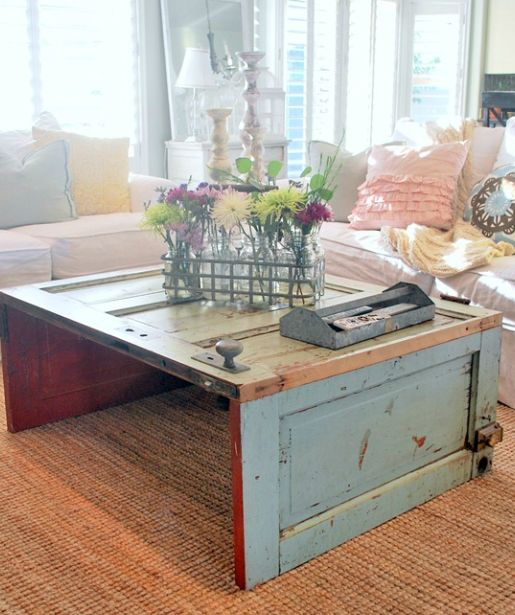 Wooden Door Coffee Table - 15+ DIY Coffee Tables Made From Old Doors Guide Patterns