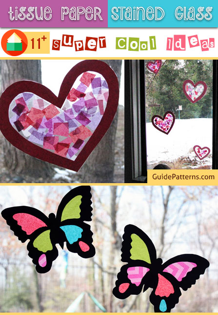 Stained glass heart craft tissue paper