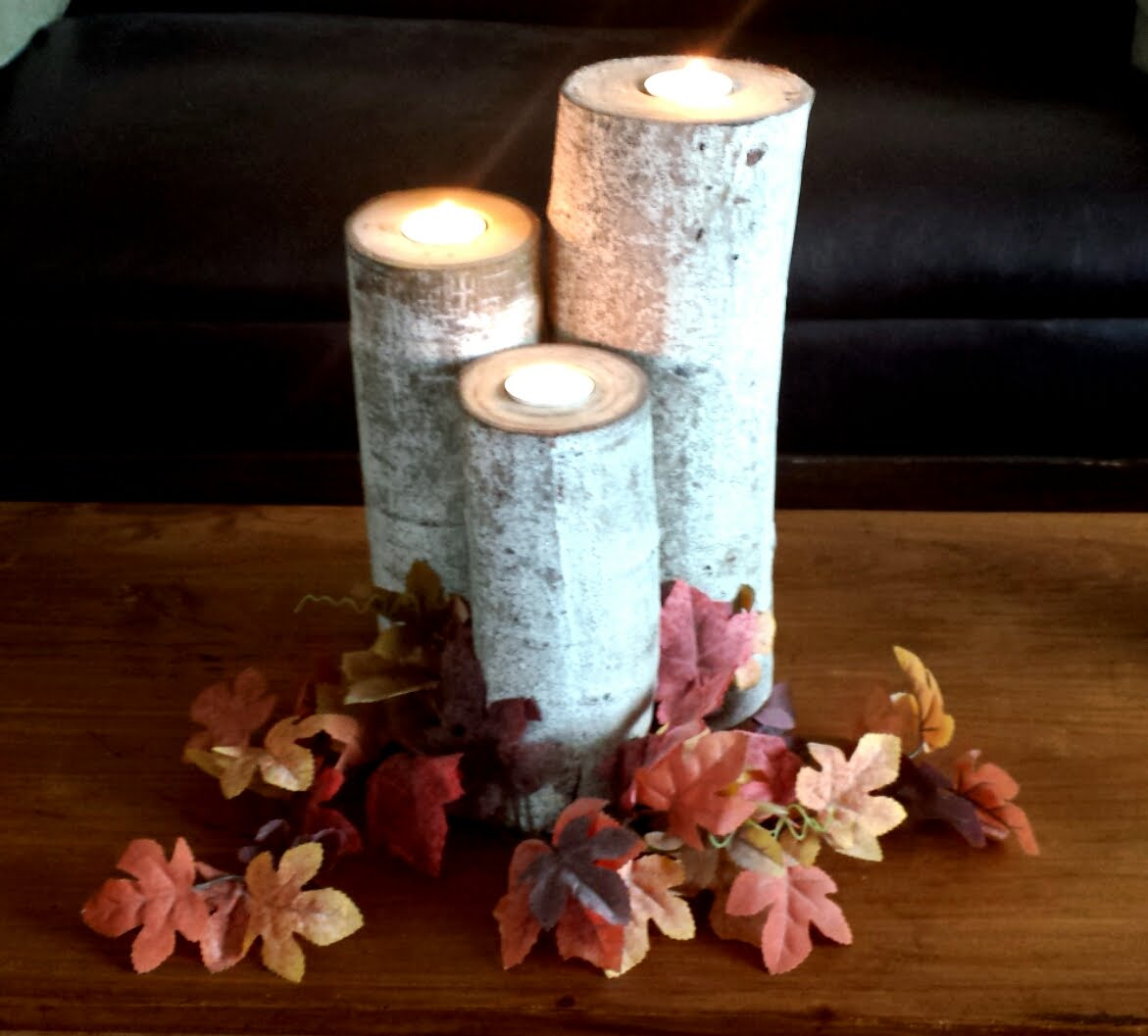 15 diy birch wood log candle holders guide patterns for Log candles diy