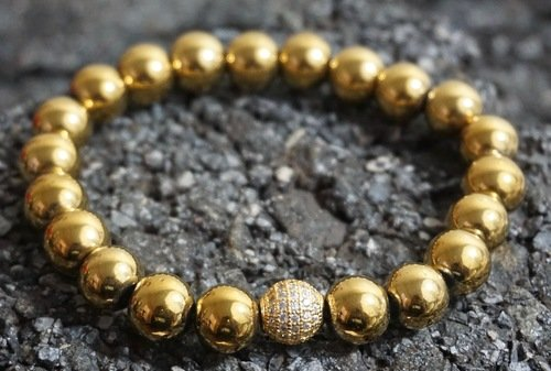 Mens Gold Bead Bracelet