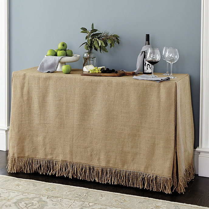 Fringed Burlap Tablecloth