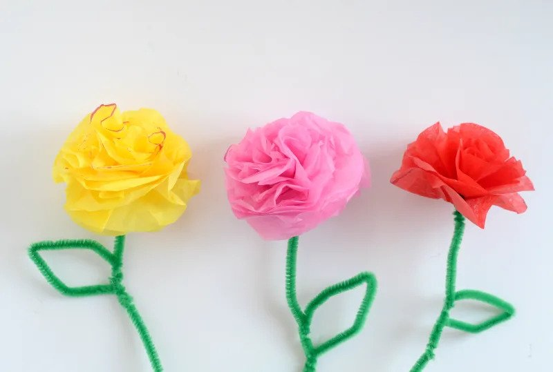 How To Make Flowers Using Tissue Paper And Pipe Cleaners Flowers