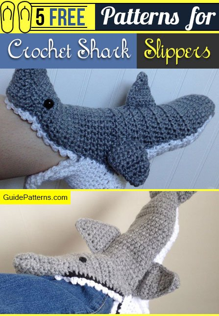 5 Free Patterns For Crochet Shark Slippers Guide Patterns