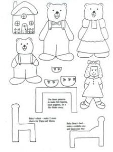 Goldilocks And The Three Bears Finger Puppets Printable Template