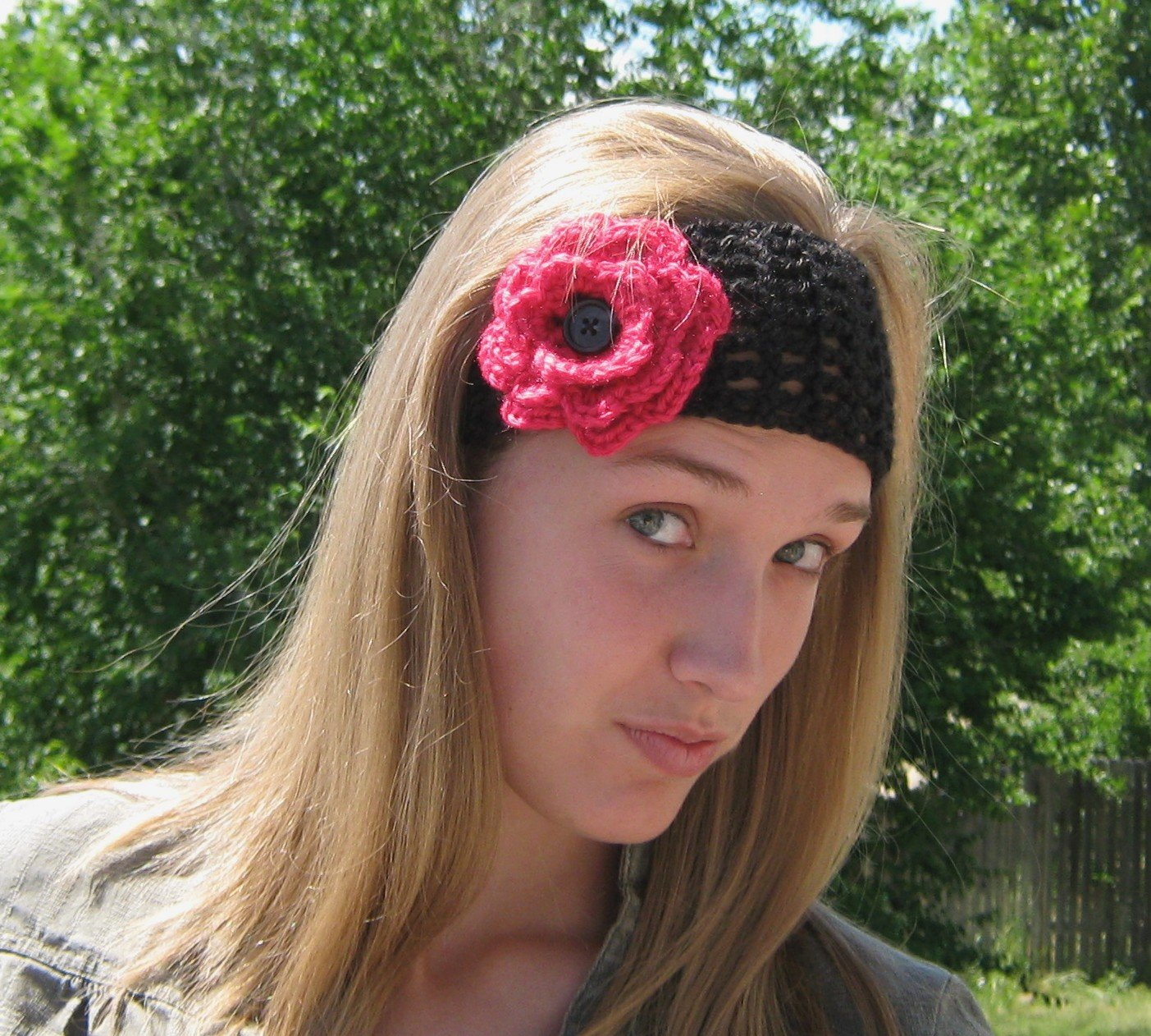 Green and Pink Flowers Adult Wool Headband