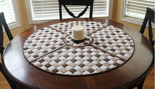 Wedge Shaped Quilted Woven Placemats For Round Tables