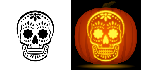 graphic regarding Pumpkin Template Free Printable identified as 23 No cost Skull Stencil Printable Templates Consultant Layouts