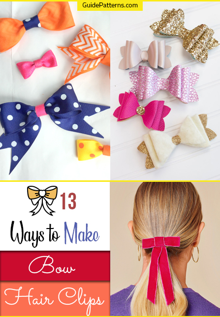 Instructions Hair bow Sewing Pattern and Tutorial Video Tutorial Women/'s french barrette clip with bow